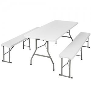 TecTake Conjunto de mesa y 2 bancos plegables