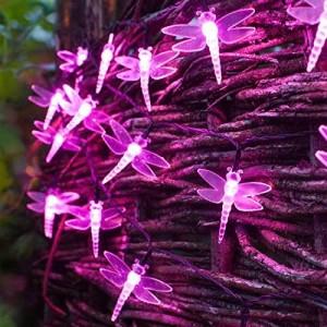 Guirnalda solar de libélulas de 30 LEDs fucsia