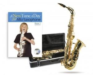 Saxofón alto, color negro y dorado