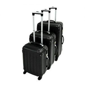 Todeco - Set de 3 maletas Trolley de color negro