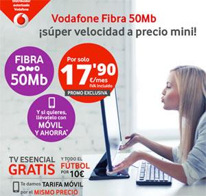 Vodafone Fibra de 50 megas y TV esencial